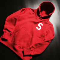 Supreme X Champion Hoodie Varsity Made In Mexico Jacket Sweater hooded Bape Jacket Hip Hop Red