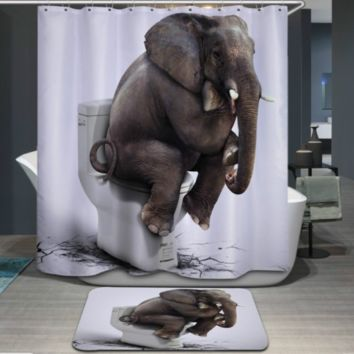 1.8x1.8m Waterproof Shower Curtain Polyester Fabric Bathroom 12 hooks Elephant