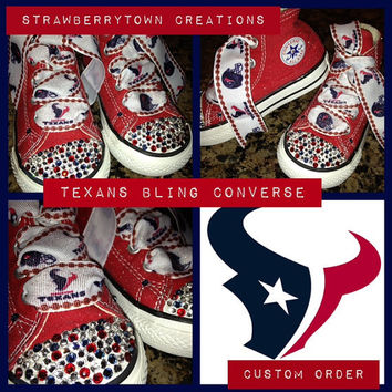 Custom made Houston Texans Converse from STC bling shoes toddler youth kids