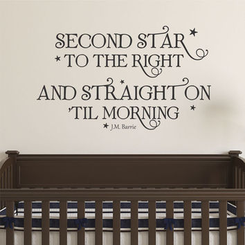 Second Star To The Right Peter Pan Nursery Kids Vinyl Wall Quote Decal