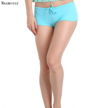 Maxmessy Spring Bikini Bottom Women Swimsuit Briefs Bathing Beach Suits Swimwear Female Boxer Swimming Trunks Shorts MC236