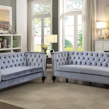 Acme 52785-86 2 pc Honor blue grey velvet fabric with tufted backs sofa and love seat
