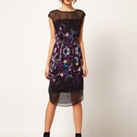 Warehouse Stretched Floral Print Midi Dress at asos.com