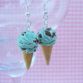 Mint Chocolate Chip Ice Cream Polymer Clay Earrings, Miniature Clay Dessert Food Jewelry, Hook Earrings