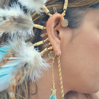 Born To Be Wild /// Electroformed Feather Ear Cuff /// Tribal, Bohemian, Boho, Gypsy, Statement, Festival Wear