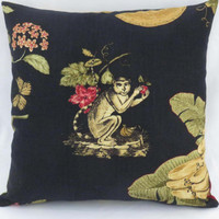 """Tropical Monkey Pillow on Black Linen, Waverly Print, Fruit and Flowers, Red Green Gold Orange, 17"""" Sq, Cover Only or Insert  Incl."""