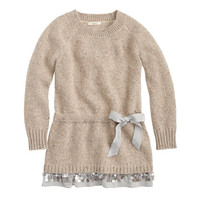 Girls' sweater dress with sparkle trim