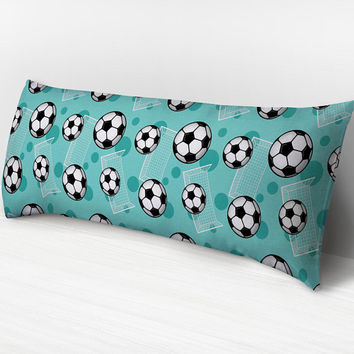 Teal Soccer Body Pillow -  Soccer Ball and Goal Pattern on Teal - 20 x 54 Body Pillow or Body Pillow Cover - Made to Order