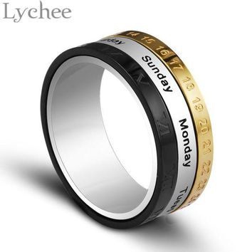 ac spbest Lychee Stainless Steel Funny Date Fidget Ring Kids/Adult Spinner Ring Toy Jewelry for Autism and ADHD