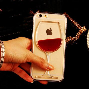LOVECOM Hot Red Wine Glass Liquid Quicksand Transparent Phone Case Hard Back Cover For iPhone 5 5S SE 6 6S 7 8 Plus X Housing