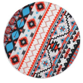 Round Multi-Colored Aztec Tapestry