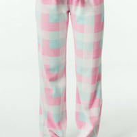 Women's Pajama Pants Micro Polar Fleece Plaid Lounge Pants Pink and Blue Loose Fit Pants House Pants Gift Ideas
