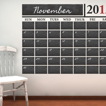 Vinyl Chalkboard Calendar Wall Decal - by Decor Designs Decals, Chalkboard - Chalkboard Wall Decal - Wall Decal - Chalkboard Calendar - Decal Calendar - Calendar