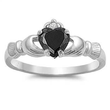 Choose Color Irish Claddagh Promise Ring Rose Gold Sterling Silver Heart Claddagh Promise Ring Simulated Opal
