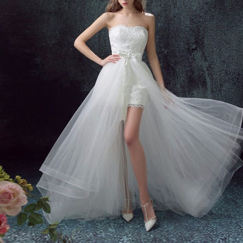Poemssongs high quality Mermaid lace Wedding dress and detachable train two layers of silky organza vestido de noivas ball gown