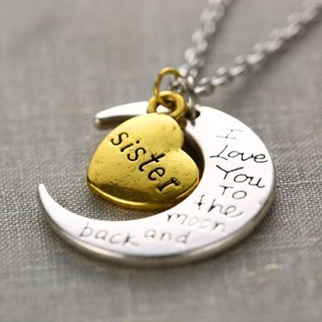 """I Love You To The Moon And Back"" Family Moon Pendant Necklaces"