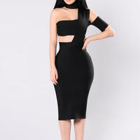 Hot Exposure Bandage Dress - Black