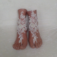 Bead Beach barefoot sandals wedding shoes anklets bridal  (Color: Ivory) = 1929988868