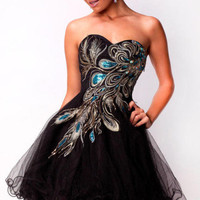 Hot Black Peacock Cocktail Homecoming Dresses Size 4+6+8+10+12+14+16/Custom