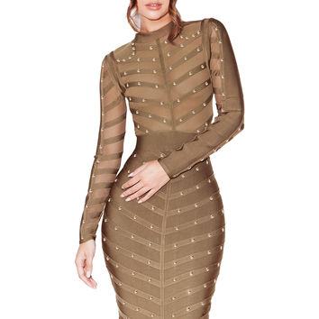 Clothing : Bandage Dresses : 'Kaori' Khaki Studded Bandage and Mesh Dress