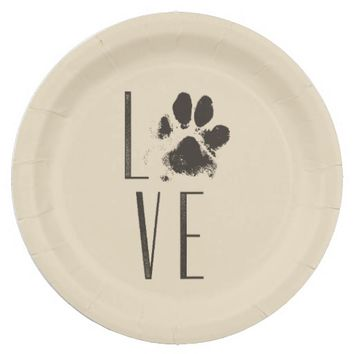 Love with Pet Paw Print Brown Grunge Typography Paper Plate  sc 1 st  wanelo.co & Best Paw Print Paper Products on Wanelo