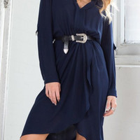 Navy Blue V-Neck Long Sleeve Dress