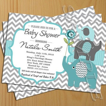 Chevron Baby Shower Invitation Boy Teal Tiffany   FREE Thank You Card  Included, Baby Shower