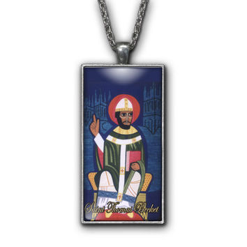 Saint Thomas Beckett Painting Religious Pendant Necklace Jewelry