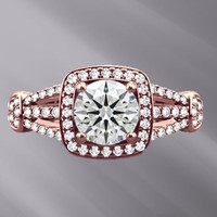 Cubic Zirconia Engagement Ring- Round Cut Squared Halo with Split Band Accents