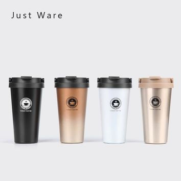 Just Ware Vacuum Insulated Travel Coffee Mug Stainless Steel Tumbler Sweat Free Tea Cup Thermos Flask Water Bottle 500mL 17Oz
