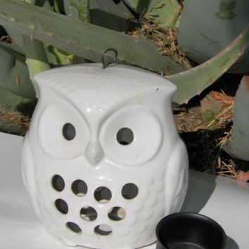 Vintage Owl Tea Light Holder. Owl Lantern. White Owl. Ceramic. Owl Home Decor. Snow Owl Decor. Great Horned Owl.