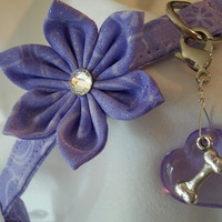 Dog or Cat COLLAR CHARM-  puffy purple heart with cute metal dog bone.
