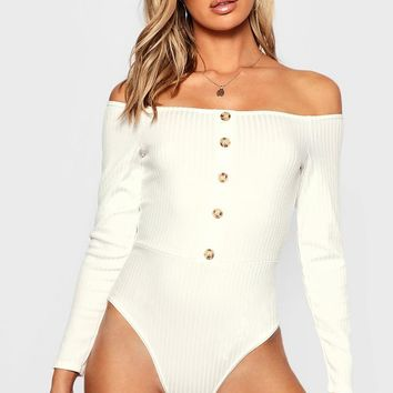 Bardot Rib Horn Button Long Sleeve Bodysuit | Boohoo