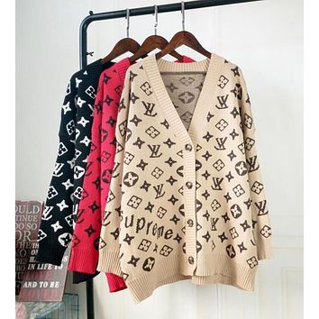 LV Louis Vuitton Women Fashion More Letter Classic Long Sleeve V Collar Sweater Knit Coat Cardigan Jacket