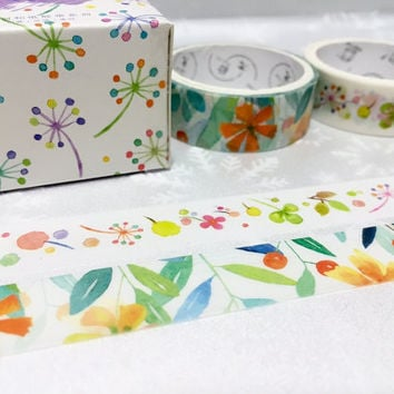 Colorful flower Washi tape 2 rolls Summer flower pretty wild flower Vibrant flower Masking tape set Watercolored flower sticker flower decor