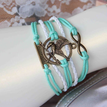 The infinity mockingjay couragelove bracelet bronze alloy mint cotton wax cord multilayer combained bracelet trending friendship faith gifts