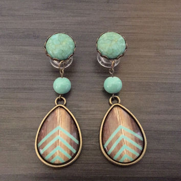 0g Dangle Plugs 4g, 2g Gauged Earrings Mint Chevron Wood Pattern Teardrop Plugs 6g Ear Plugs, 00g Dangly Body Jewelry