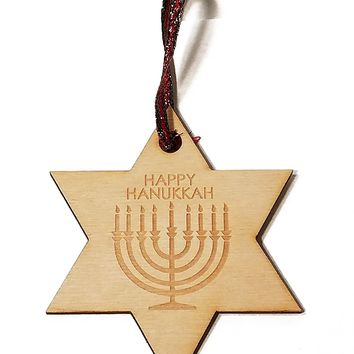 Happy Hanukkah Menorah Laser Engraved Wooden Christmas Tree Ornament Gift Seasonal Decoration