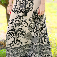 Ornate Obsidian Maxi Skirt
