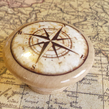 Nautical Birch Wood Knob Drawer Pulls, Antique Style Compass Cabinet Pull Handles, Executive Office, Made To Order