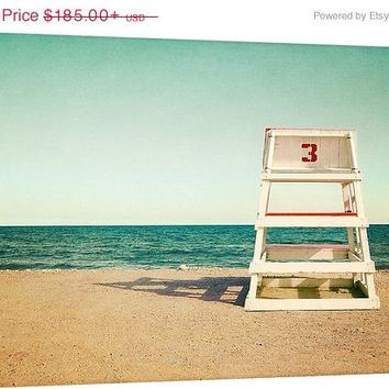 Beach Decor Canvas Gallery Wrap Coastal Decor Large Wall Art Vintage Lifeguard Chair Mint Green Aqua Blue Red Beige Ivory Oversized Print
