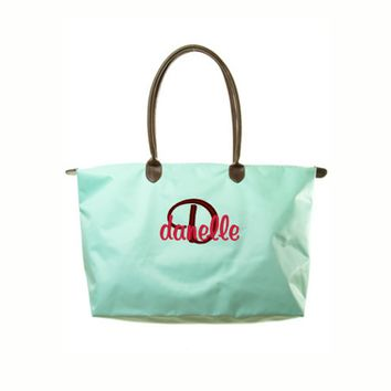 Personalized Tiffany Blue Longchamp Inspired Large Overnight Tote Bag