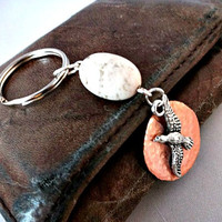 Gift For Him, Metal Keychain, Eagle Key Ring #Accessories #Keychain #Copper #Eagle #Gift