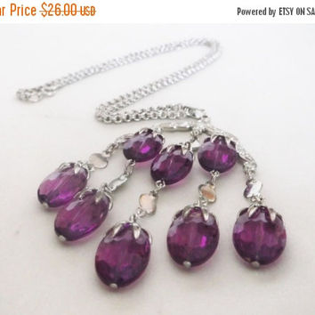 SALE Vintage SARAH COVENTRY Waterfall Necklace Purple Lucite Beads Silver Tone Jewelry