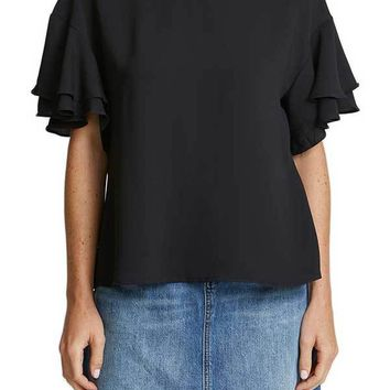 Lush Ruffle Short Sleeve Top
