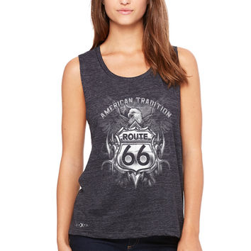 Zexpa Apparel™ Route 66 American Traditon Eagle Biker - Women's Muscle Tee Biker Tanks