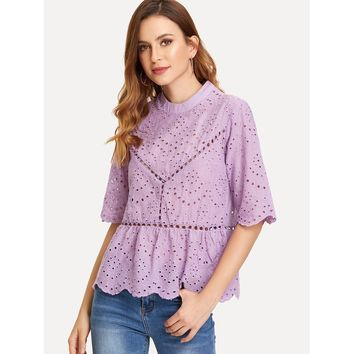Ruffle Hem Eyelet Embroidered Top Purple