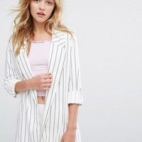 Bershka Stripe Tailored Blazer at asos.com