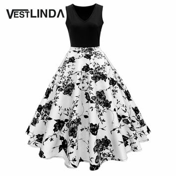 VESTLINDA Vintage Print  High Waist Tea Dress Summer Women Retro 50s 60s Dresses Elegant Party Vestidos Cotton Patchwork Dress