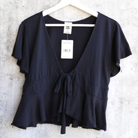 Free People Knot Me Tee - Black